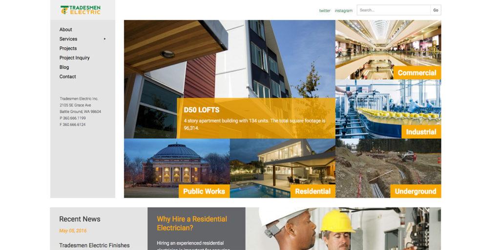 Tradesmen Electric Homepage Design